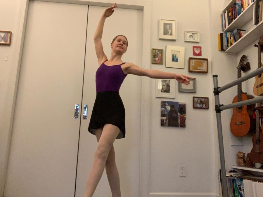 Tamara+Houck+participating+in+a+virtual+ballet+class+from+her+bedroom.
