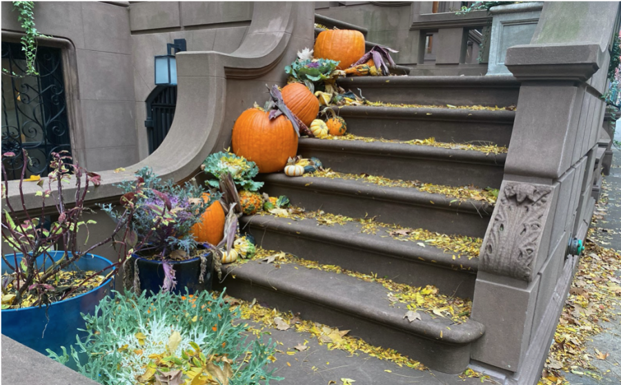 A festive stoop on the UWS