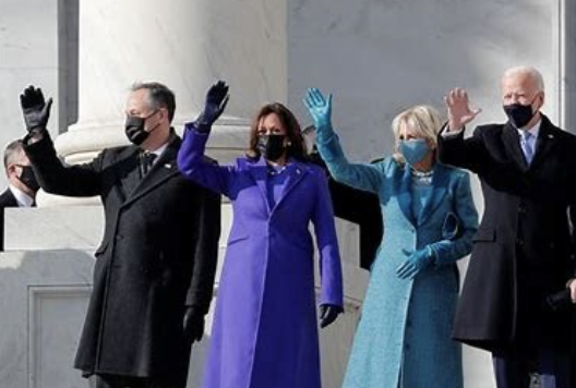President Biden, Vice-President Harris, The First Lady and The Second Gentleman  Wave At the Steps of the Capitol.