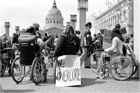 """DLIL, HOLLYNN, """"A photograph taken by HolLynn DLil, one of the protesters, from inside the 504 Sit-In."""", Atlas Obscura, 9 November 2017   https://www.atlasobscura.com/articles/504-sit-in-san-francisco-1977-disability-rights-advocacy"""